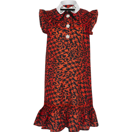 Girls red printed trapeze dress