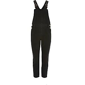 Schwarze Jeans-Latzhose im Washed-Look für Mädchen