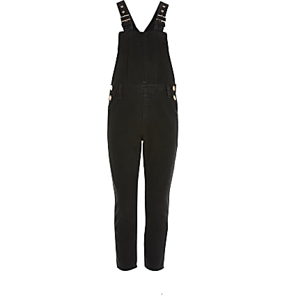 Girls black washed denim dungarees