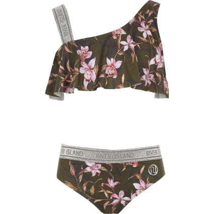 Girls khaki floral one shoulder bikini set