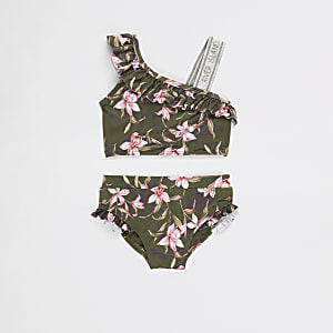 Bikini asymétriquekaki fleuri Mini fille