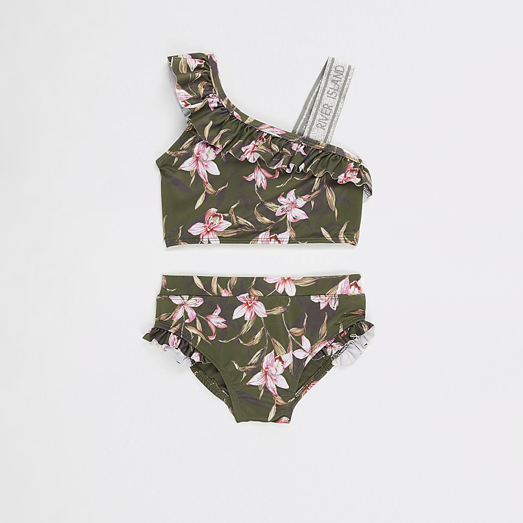 Mini girls Khaki floral one shoulder bikini
