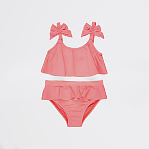 Mini girls coral bow tankini