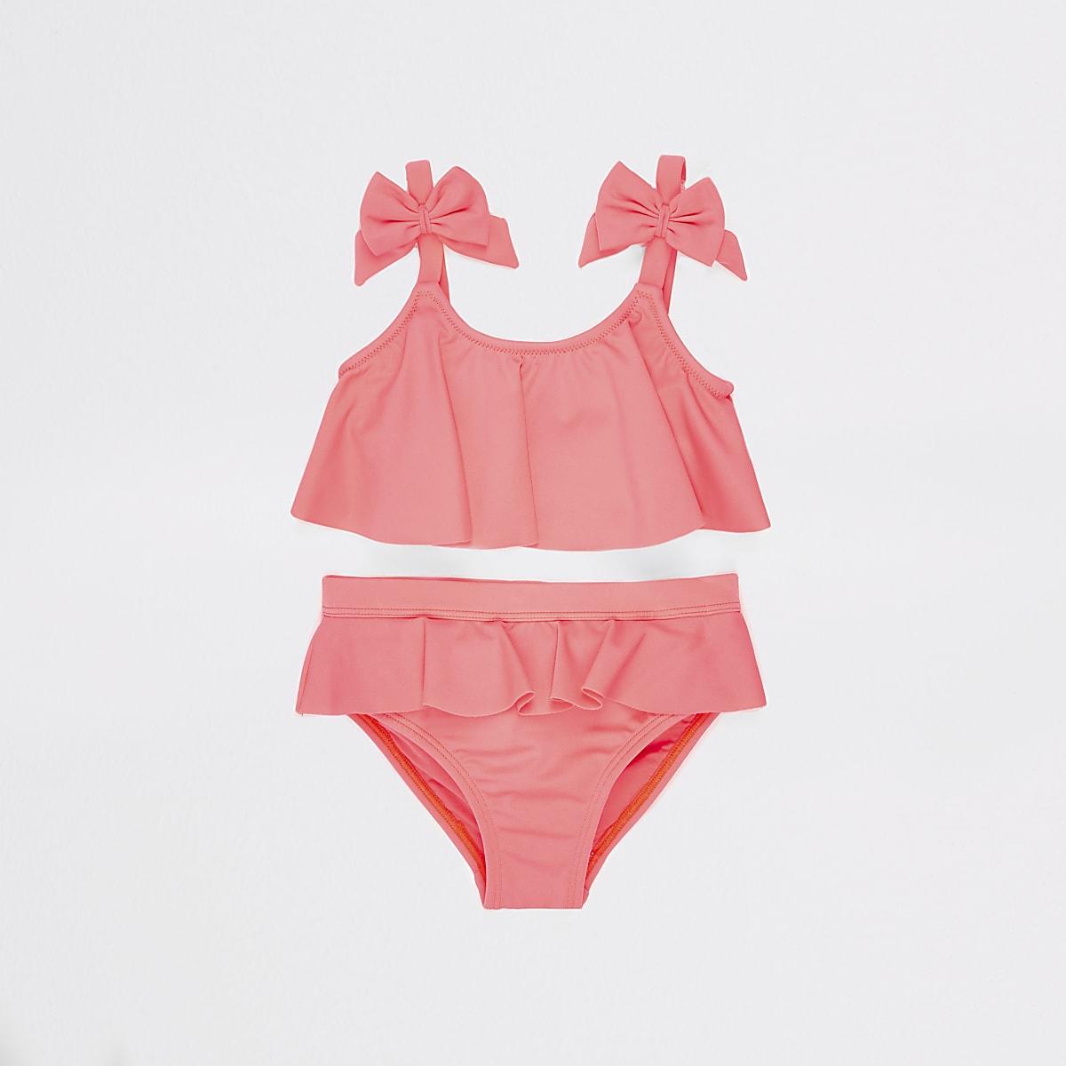 Mini girls coral bow tankini