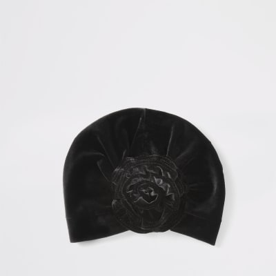 Mini Girls Black Velvet Turban Headband by River Island
