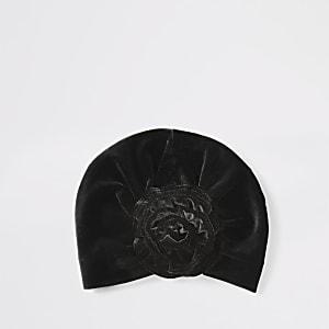 Mini - Zwarte fluwelen tulband voor meisjes