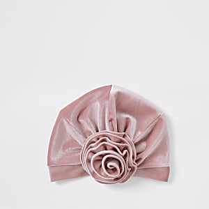 Mini girls pink velvet turban headband