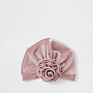 Bandeau façon turban en velours rose mini fille