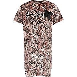 Roze T-shirtjurk met slangenprint voor meisjes