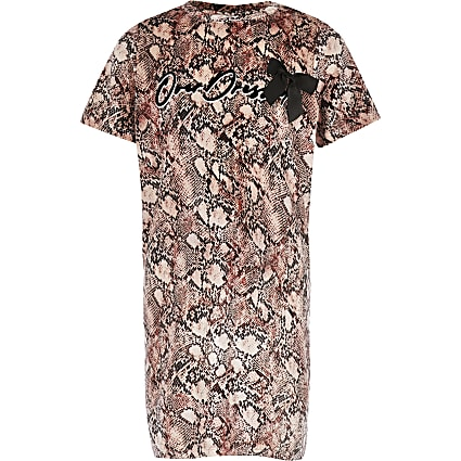 Girls pink snake print T-shirt dress