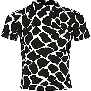 Wit hoogsluitend T-shirt met print voor meisjes