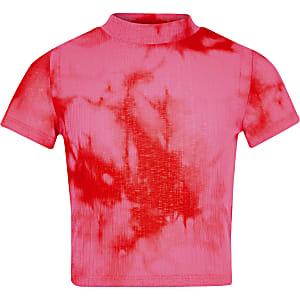 Roze tie-dye T-shirt met print voor meisjes