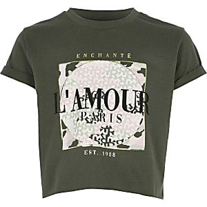 Girls khaki printed cropped T-shirt