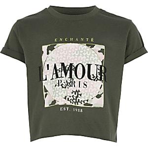 Kurzes, bedrucktes T-Shirt in Khaki
