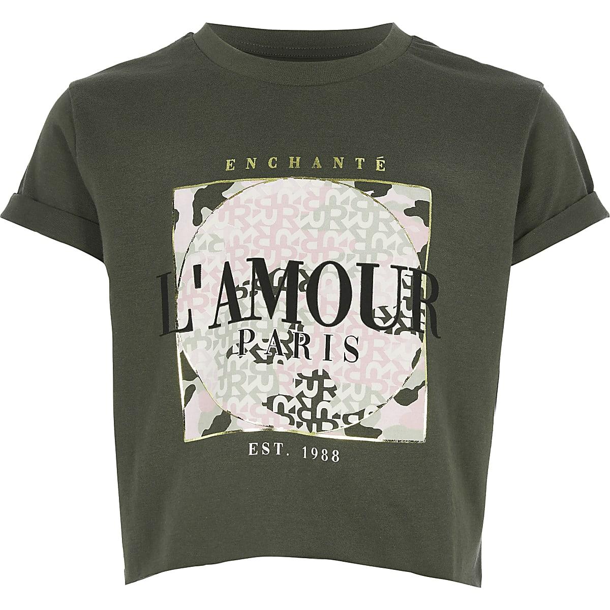 Girls khaki printed cropped T-shirt