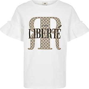 Wit T-shirt met RI-logo en ruches aan de mouwen voor meisjes