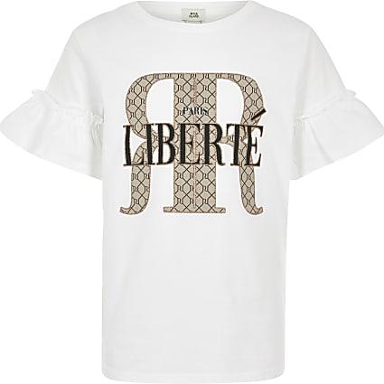 Girls white RI frill sleeve T-shirt