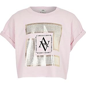 T-shirt à imprimé encadré rose pour fille