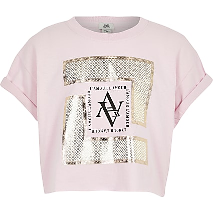 Girls pink box printed T-shirt