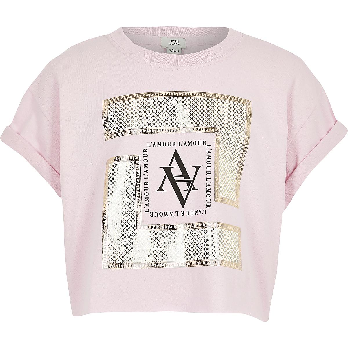 Girls pink box printed T-shirt