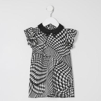 Mini girls dogtooth check print shift dress
