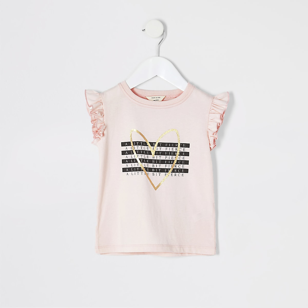Mini girls pink 'A little bit fierce' T-shirt