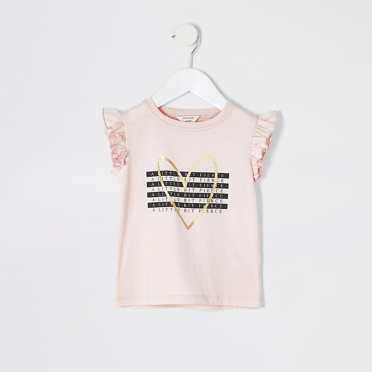 Mini - Roze T-shirt met 'A little bit fierce'-print voor meisjes