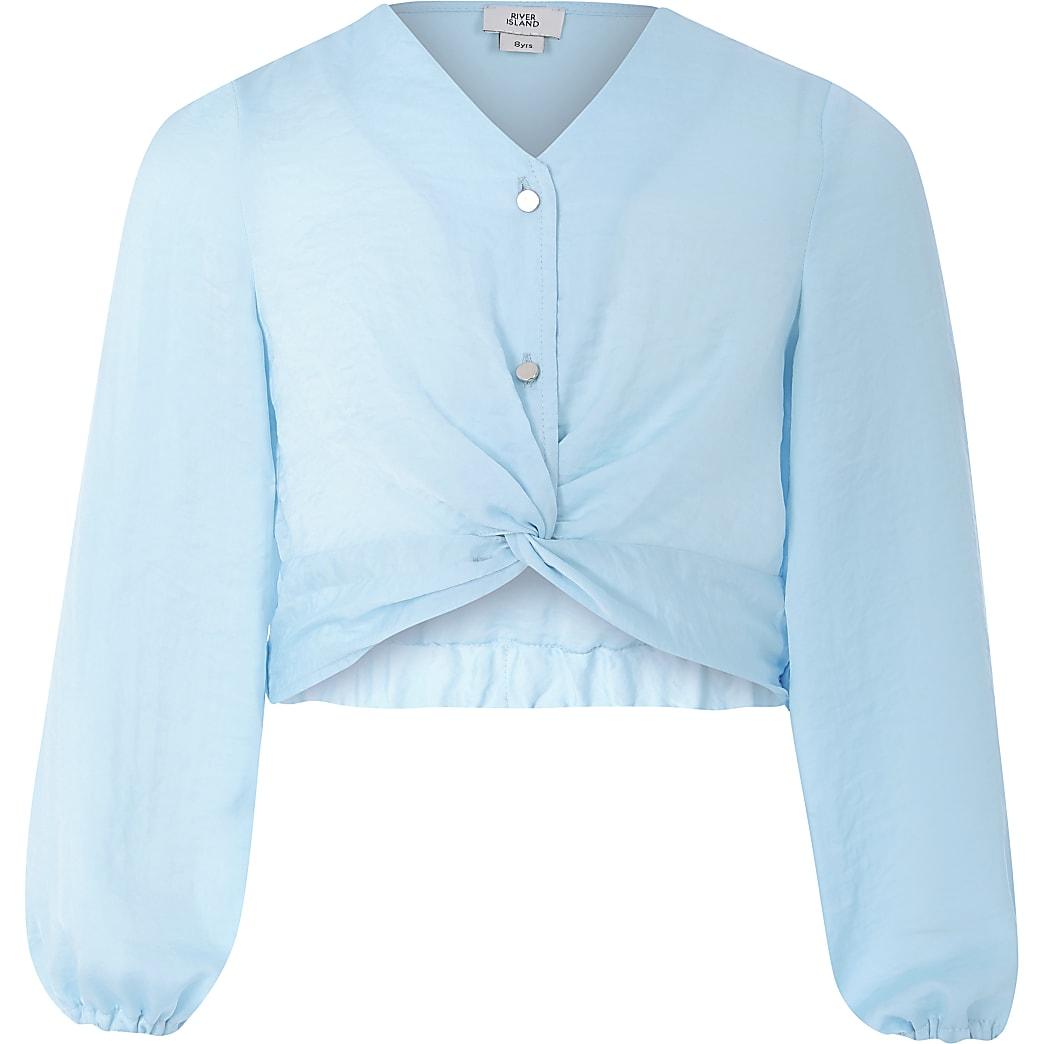 Girls blue twist front top