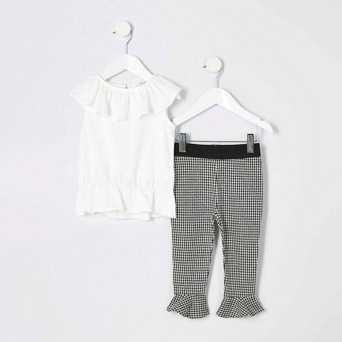 Mini - Outfit met witte top met ruches voor meisjes