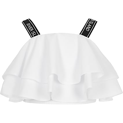 Girls white RI strap frill crop top