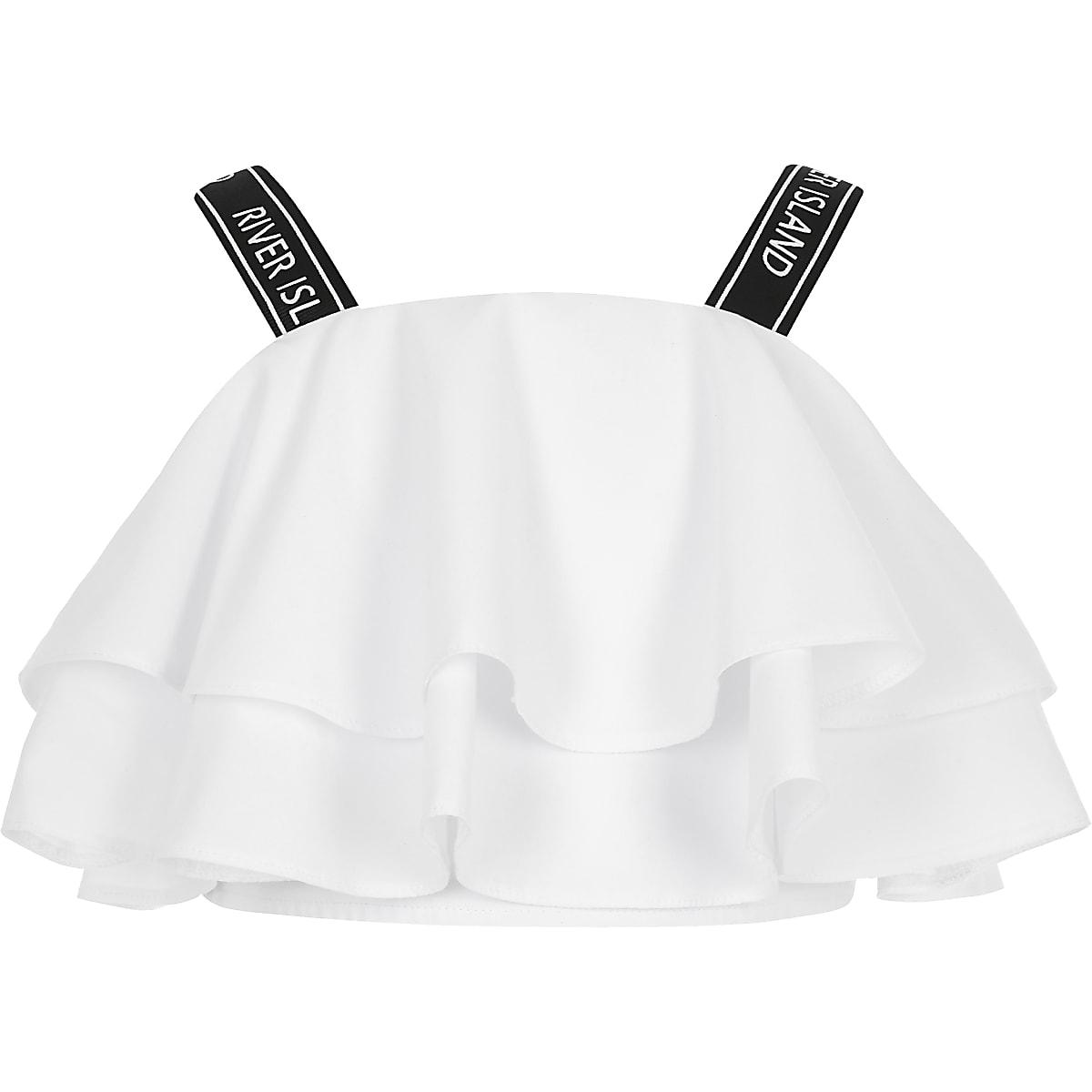 Girls white RI strap frill crop top