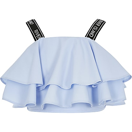 Girls blue RI strap frill crop top