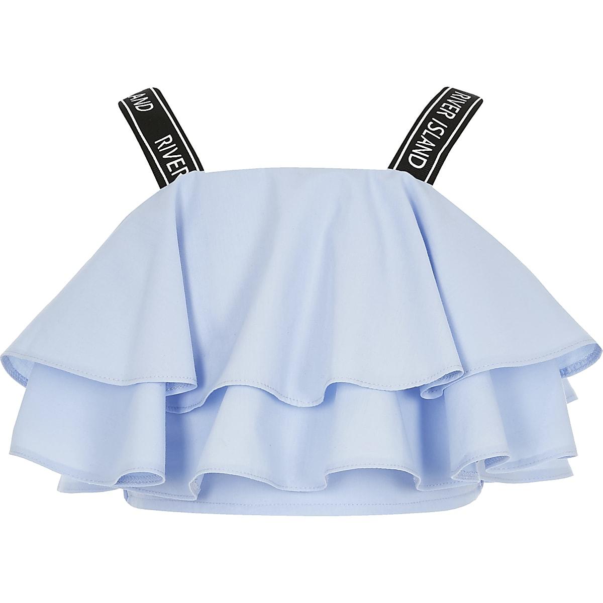 Blauwe crop top met RI-bandjes en ruche voor meisjes