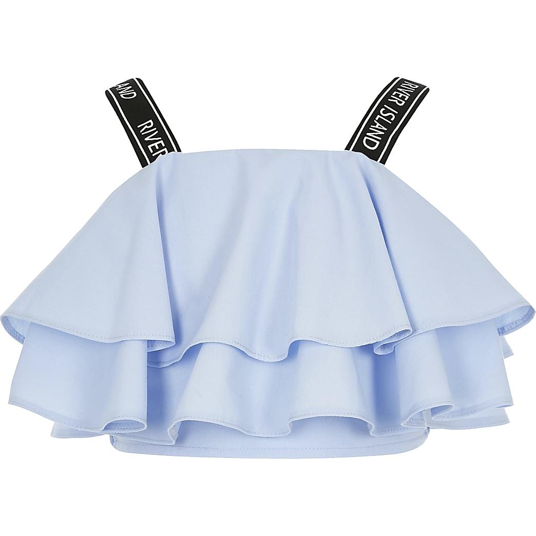 Girls blue RI strap frill crop top