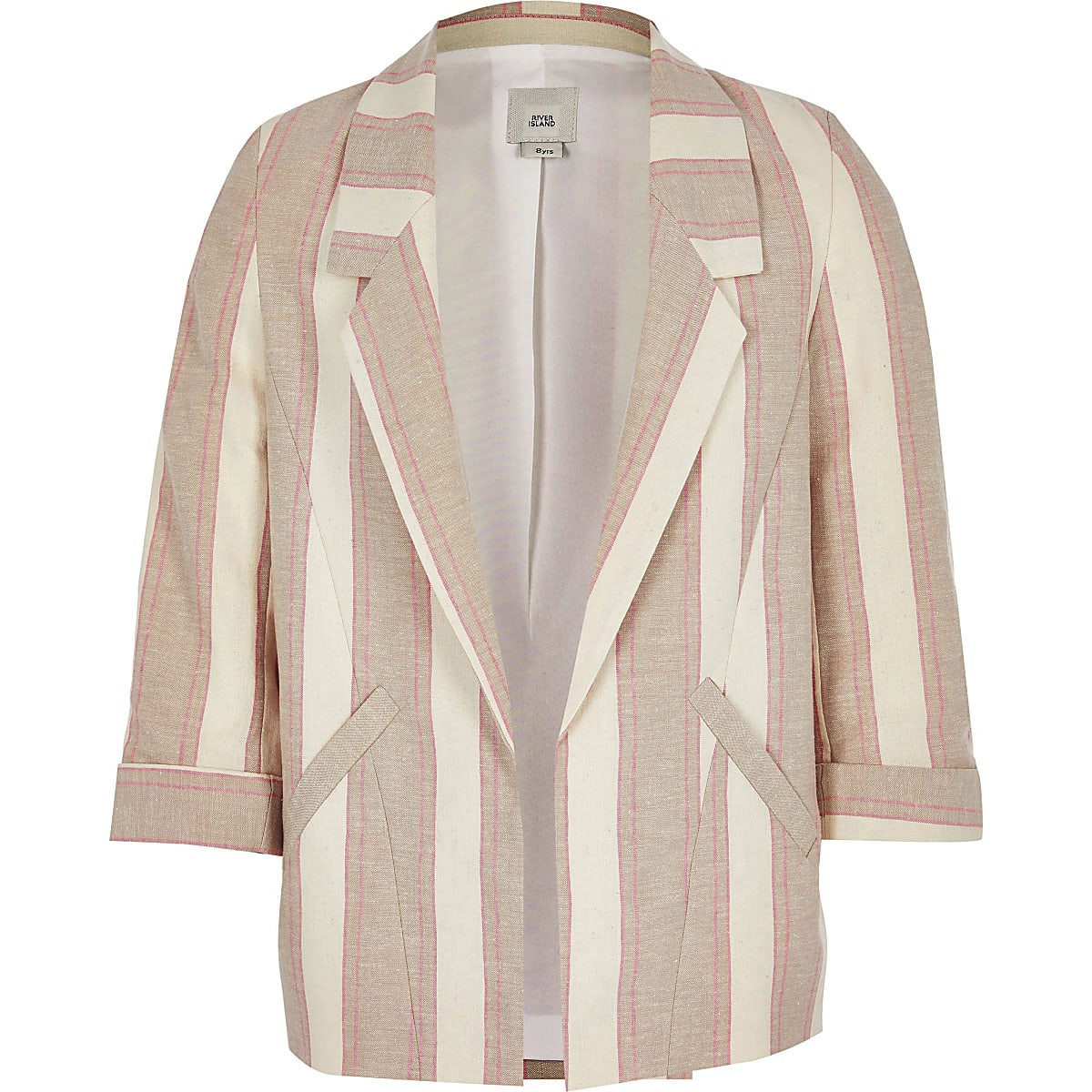Girls beige stripe blazer