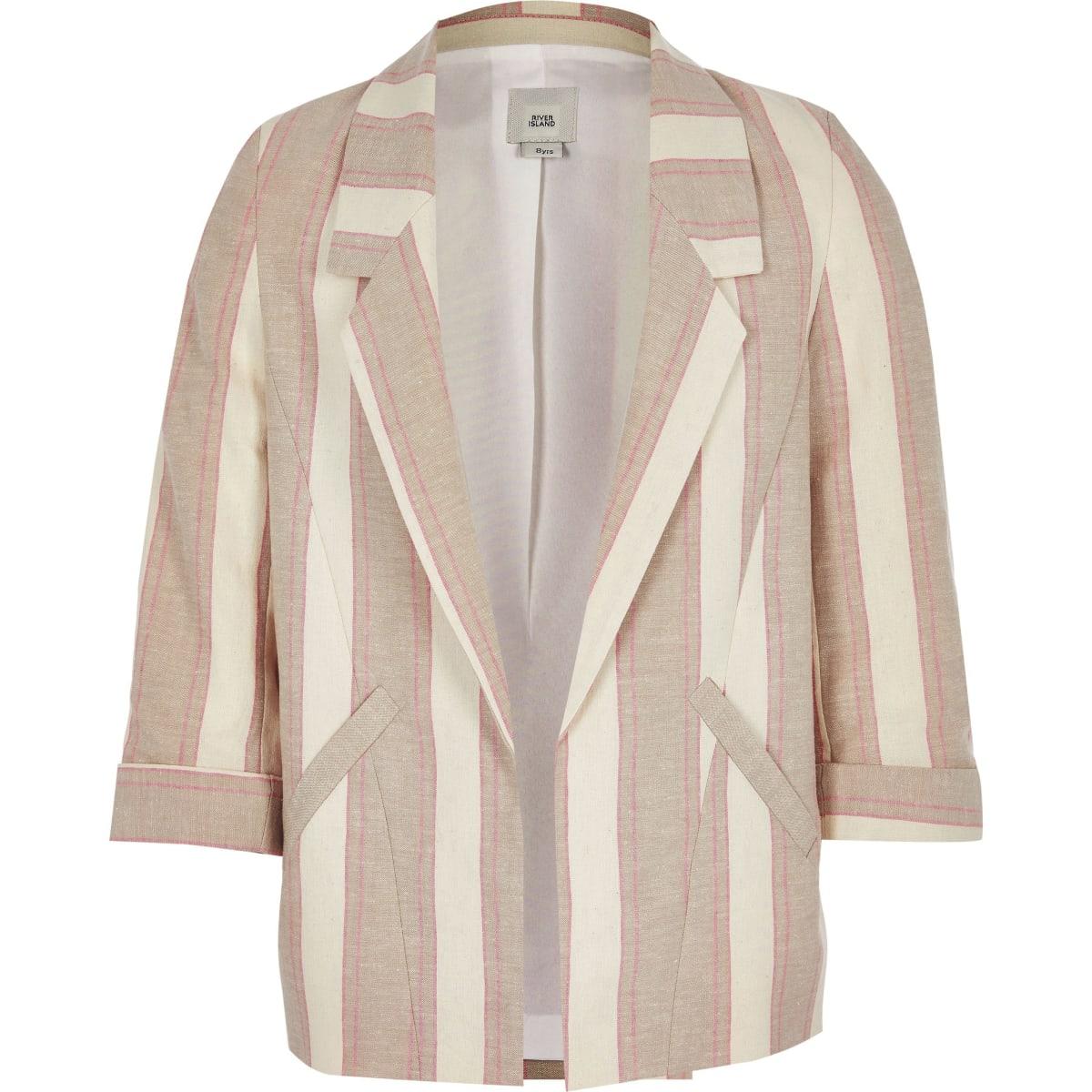 Girls beige stripe blazer