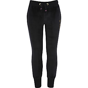 Girls Juicy Couture black velour joggers