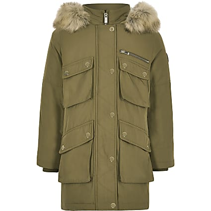 Kids khaki faux fur hood parka coat