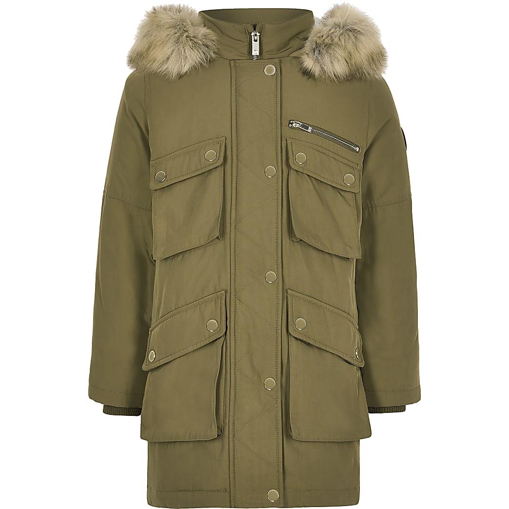 Kids khaki faux fur hood parka coat
