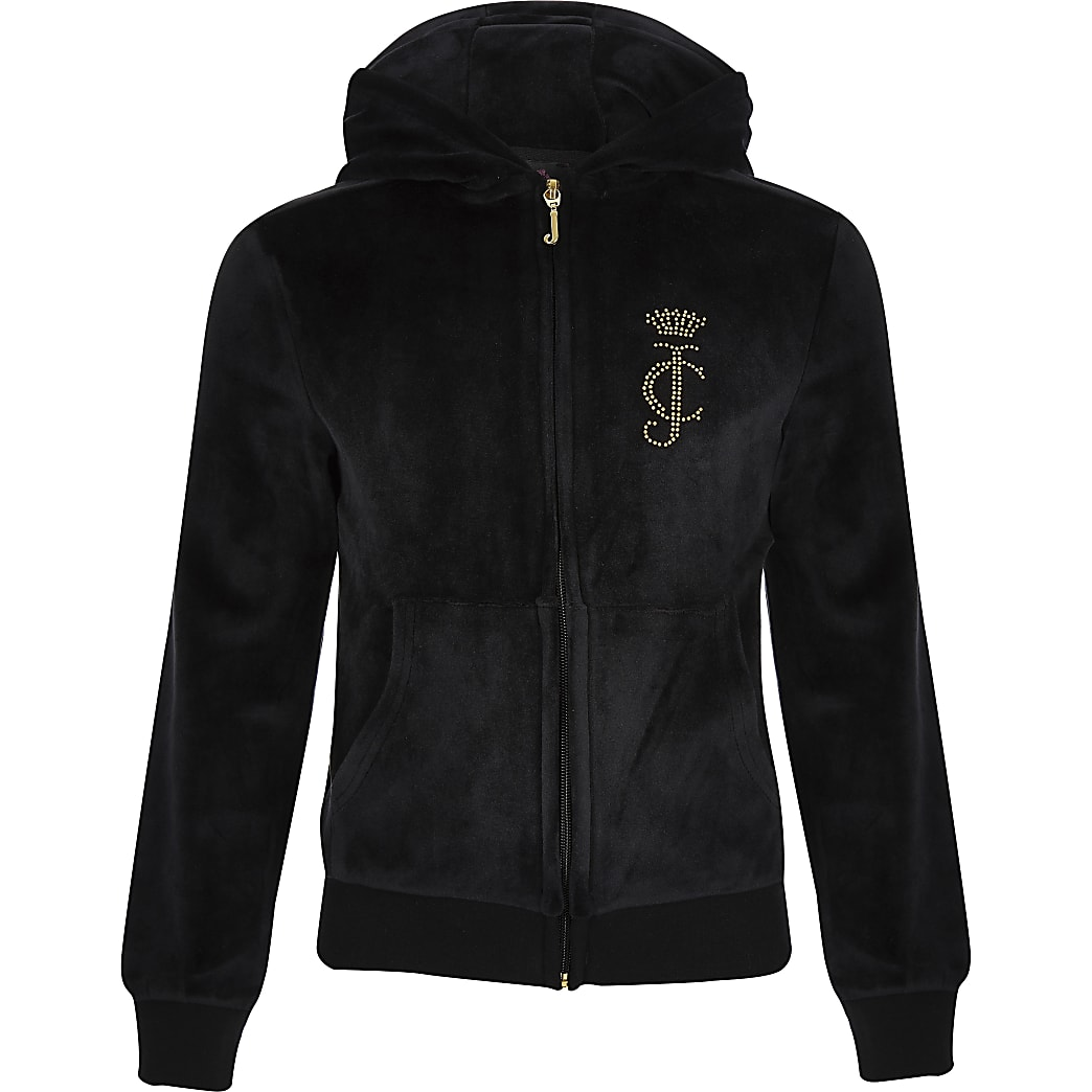 Girls black Juicy Couture track top
