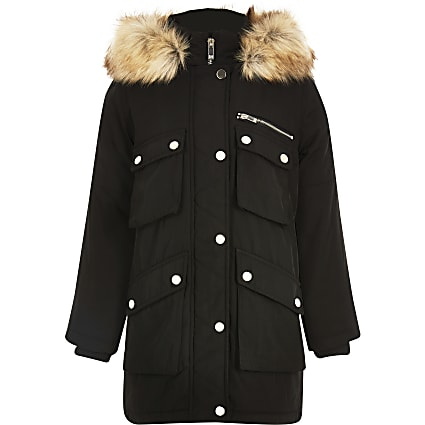 Kids black faux fur hooded parka coat