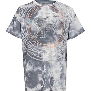 Graues, strassverziertes T-Shirt für Mädchen mit RI-Logo