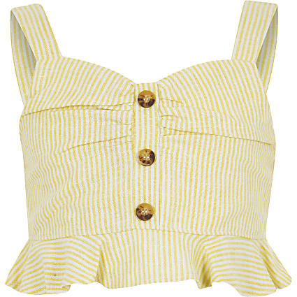 Girls yellow stripe crop top