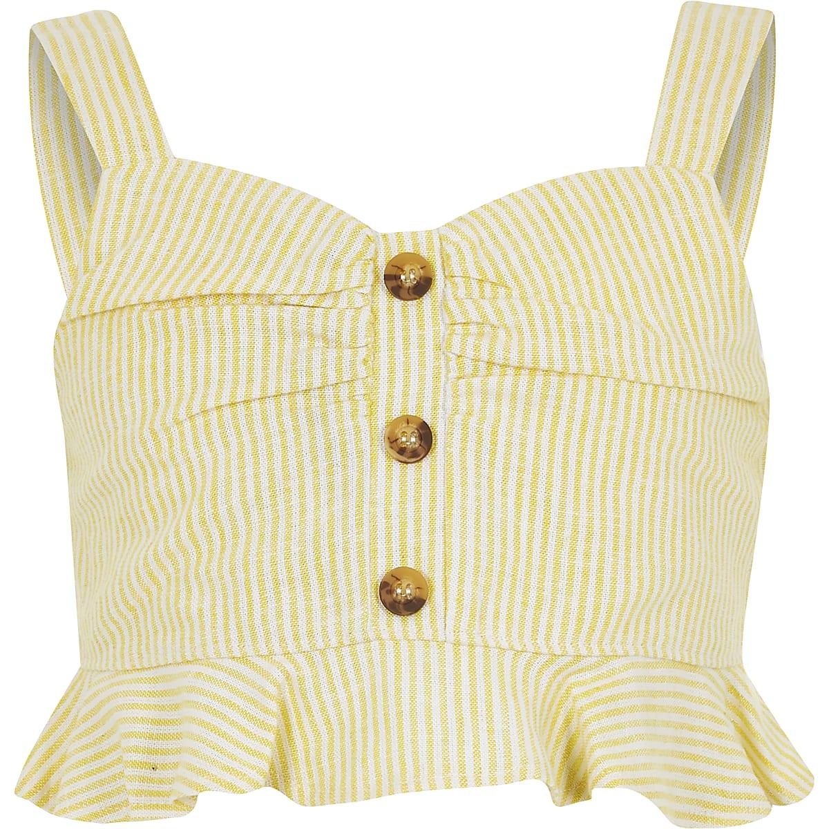 Gele gestreepte crop top voor meisjes