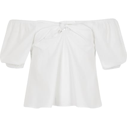 Girls white bardot tie front top