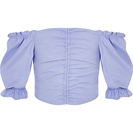 Girls light blue ruched front top
