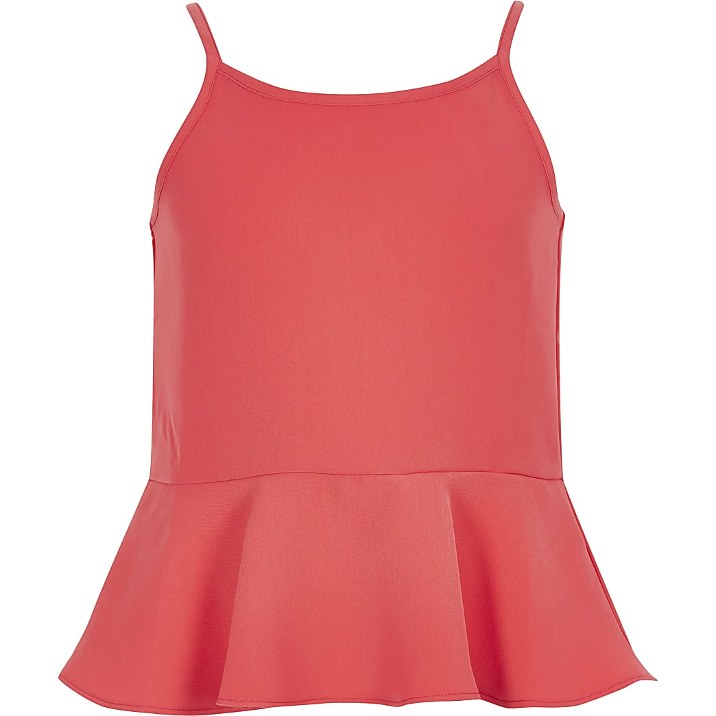 Girls coral frill cami top