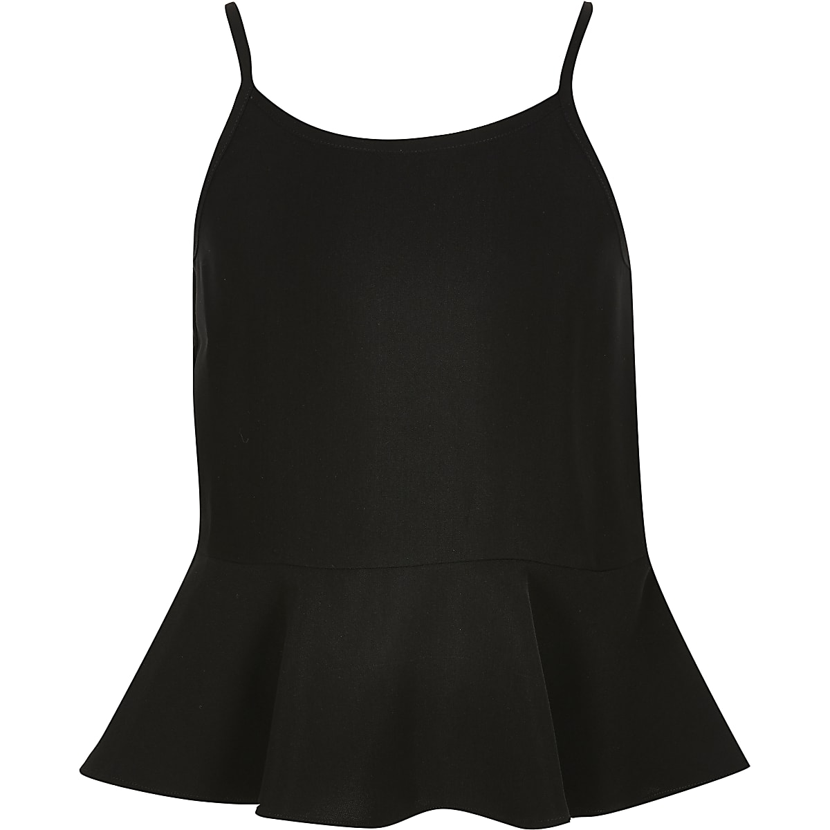 Girls black frill hem cami top
