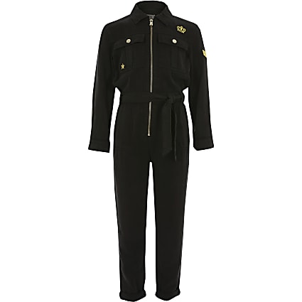 Girls black embellished utility jumpsuit