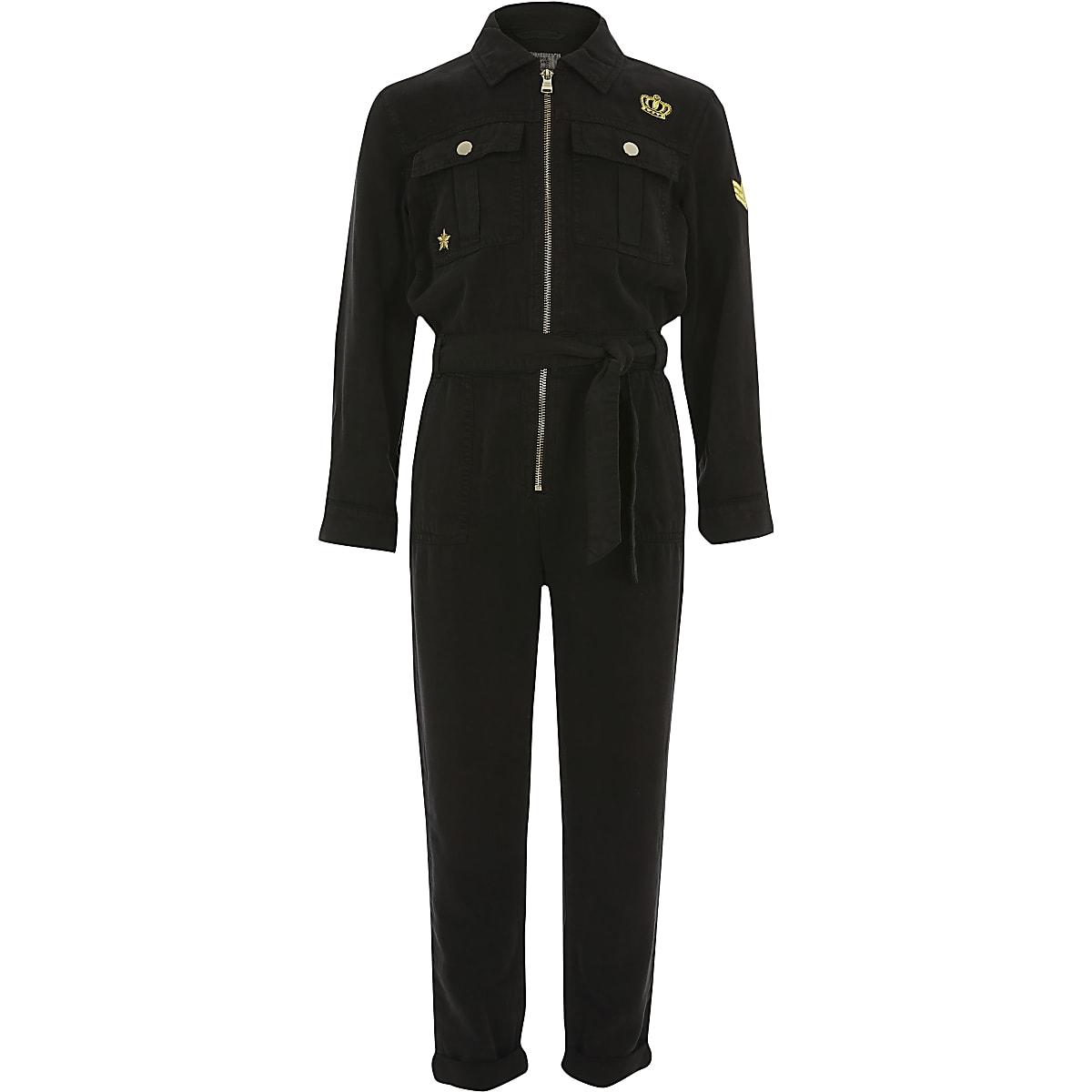 Zwart verfraaid utility jumpsuit voor meisjes